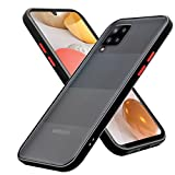 Cadorabo Étui Compatible avec Samsung Galaxy A42 5G en Noir Givré - Touches Rouges - Coque de téléphone Portable avec Silicone TPU à l'intérieur et Dos en Plastique Mat - Housse de Protection