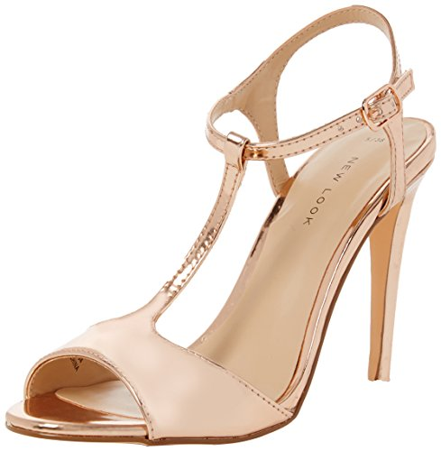 New Look Damen Peep-Toe Pumps Shalot, Goldfarben, Gr. 39 (UK 6)