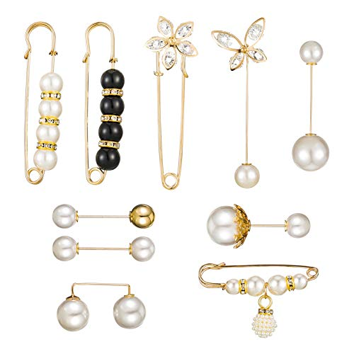 Aoliandatong 10 Pieces Brooch Pins for Women, Brooches for Ladies, Brooch Pins Sweater Shawl Clips Faux Crystal and Pearl Brooches, 10 Style Gold