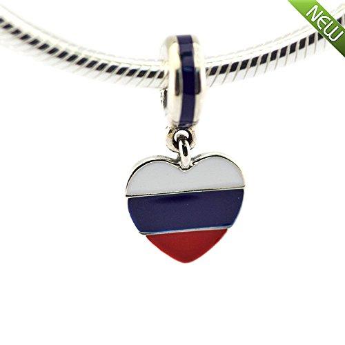 PANDOCCI 2016 Russland-Herz-Markierungsfahne baumeln Charme-Korne Sitze für ursprüngliche Pandora Armband-Schmucksachen