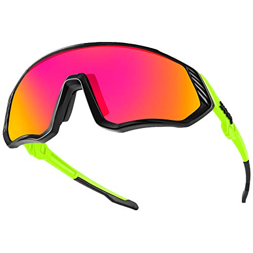 KAPVOE Cycling Glasses Sports Sunglasses Polarized - Protection Biking Goggles Glasses Fishing Golf Baseball Running Mountain Climbing Glasses Tr90 Frame 100% Uv400 Protection (Green Frame/red Lens)