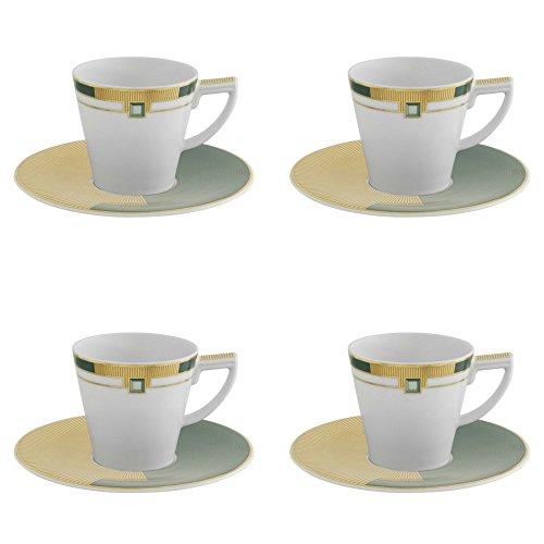 Vista Alegre - Juego de 4 tazas de café con plato (porcelana), diseño de esmeralda