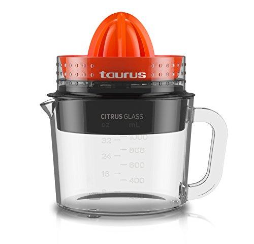 Taurus Citrus Glass Exprimidor, Rotación de Doble Sentido, 30 W, 1 Liter, 0 Decibelios, Plástico, Multicolor