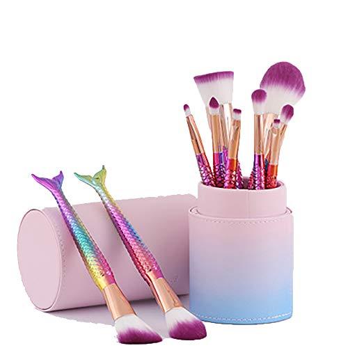 Maquillage Brush Set 10Pcs Cosmétiques Professionnels Brosses Pinceaux Maquillage Or Rose Sirène Brosses Brosses À Cheveux, Maquillage Sacs Ensembles D'outils,Type13