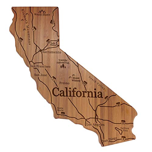 BambooMN Engraved State Silhouette w/Map Cutting Board - California - 1 Piece