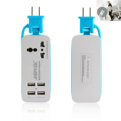 USB Power Strip, AGPtek Portable Travel Wall Charger with 1 Universal Wide Range Outlet +4 USB Charging Station for iPhone iPad Samsung Galaxy S6/S6 Edge Nexus Tablets HTC M9 Motorola LG and More