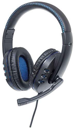 Manhattan 176088 USB-Gaming-Headset mit LEDs für PC, Mac, PS3 & PS4, verstellbares Mikrofon, integrierte Audiobedienelemente, integriertes USB-Kabel mit 1,8 m Länge, schwarz/blau, SPK-1765