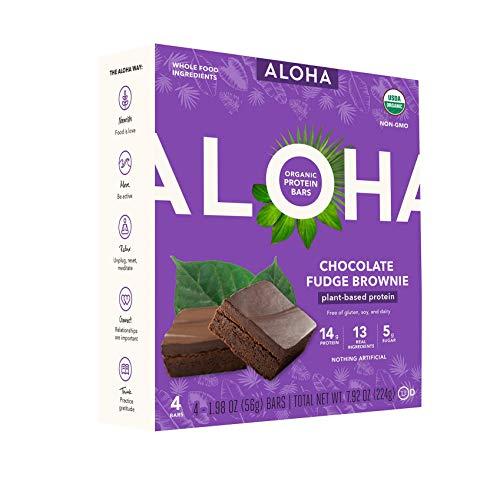 ALOHA Organic Plant Based Protein Bars 4-Pack - Chocolate Fudge Brownie - 1.98oz Bars - Vegan, Low Sugar, Gluten-Free, Paleo, Low Carb, Non-GMO, Stevia-Free, Soy-Free, No-Erythritol