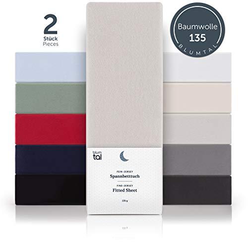 Blumtal Basics 2er-Set Topper Spannbettlaken 200 x 200 cm - 100% Baumwolle Bettlaken, bis 8cm Topperhöhe, Moonlight-Grau