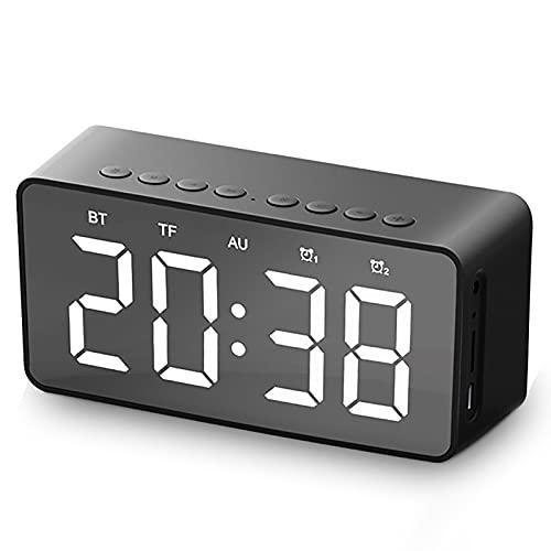 AYAONG FM Reloj Despertador Reloj de Alarma Altavoz Bluetooth Mini Espejo COLECCIÓN DE Tarjeta DE Regalo Transmisión Bluetooth Altavoz (Color : Black)