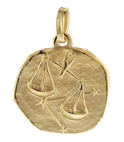 trendor Sternzeichen-Anhänger Waage 585 Gold 16 mm Gold Anhänger Sternzeichen für Damen, Herren und Kinder, Sternzeichen Echtgold, Anhänger Gold, 08967