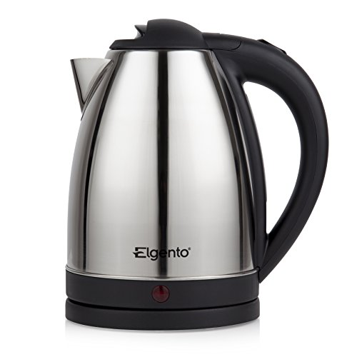 Elgento Jug Kettle, Boil Dry Protection, Concealed Element, 360 Degree Cordless Design, Automatic Cut Off, 1.8 Litre, 2200 W, Polished Silver