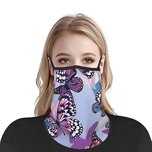 Purple Blue Butterflies Bandana Face Mask Neck Gaiter for Men Women Reusable Portable Ice Silk Face Cover Scarf Balaclava-Ear Loops & Snap