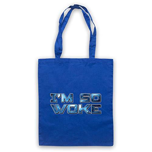 My Icon Art & Clothing I'm So Woke Funny Hipster Slogan Umhangetaschen, Blau