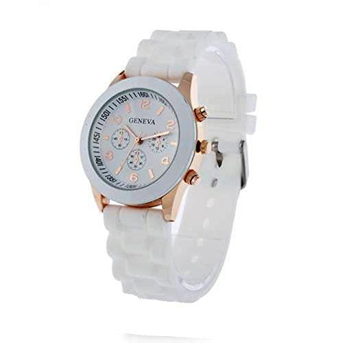 CursOnline Geneva - Reloj original de acero y oro para hombre y mujer, elegante - Cómoda pulsera de color blanco
