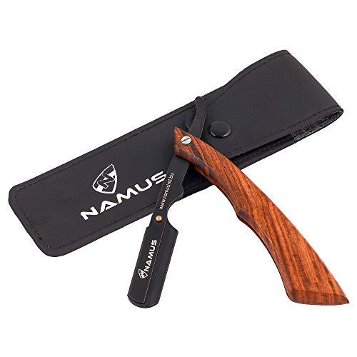 Tradicional Navaja de Afeitar de Barbero Afeitado manual Kit de para Barba Hombre mango de madera de Sapiens Peluquería maquinilla de afeitar plegable con de afeitar Cuero Estuche
