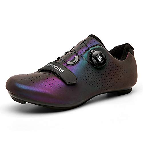 BETOOSEN Men's Women's Breathable Road Bike Cycling Shoes MTB Biking Shoe Indoor Riding Cycling Exercise Shoes with Quick lace Compatible with SPD Cleats (8 M US Women/6 M US Men, Multicolor)