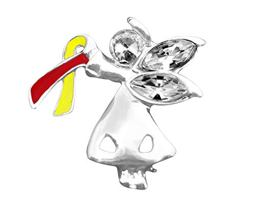 Red & Yellow Ribbon Angel by My Side Pin - Virus Awareness and Hepatitis C Awareness Pin for Gift-Giving (1 Pin)