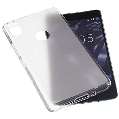 foto-kontor Tasche für Bq Aquaris X5 Plus Gummi TPU Schutz Handytasche transparent weiß