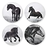 Coasters for Drinks Running Horse Black and White 4 Pieces Set Absorbent Drink Coaster Cork Base Cups Place Mats for Home Decor Great Gifts Ideas
