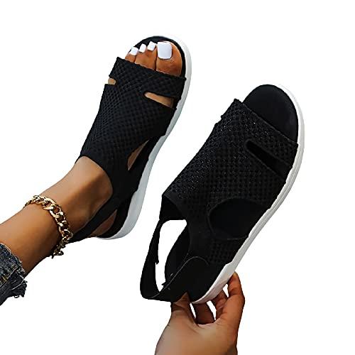 MIAOFA Sandalias de Moda de Verano para Mujer Zapatillas de Playa Planas Casuales con diseño de Correa en el Tobillo,Negro,42