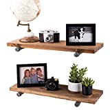 Industrial Pipe Wooden Shelves Restore by Pipe DÉCOR Premium Douglas Fir Wood Shelving 24 Inch Length Set of 2 Boards and 4 Straight Brackets Autumn Brown Finish