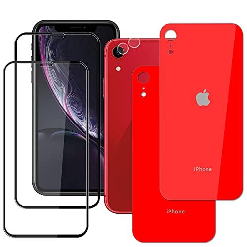 Guran 6 Pezzi Pellicola Vetro Temperato per iPhone XR (6.1 Pollice) Smartphone HD Pellicola - 2* Nero Schermo Pellicola + 2* Fotocamera Lens Pellicola + 2* Rosso Posteriore Pellicola