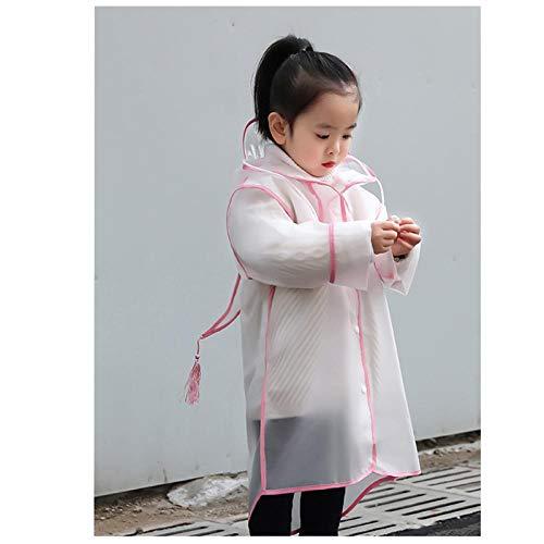 zhaoyangeng regenjas kinderen meisjes regenjas kind poncho regenjas regen poncho regenkleding transparante capuchon Eva baby jongens regenkleding - roze Maat: XXL