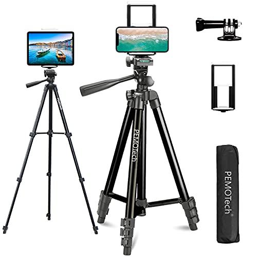 PEMOTech Trípode para Móvil y Tablet, 50'' Trípode de Aluminio, Ligero y Portátil con 2 en 1 Soporte de Tablet y Móvil, Adaptador Gopro, Remote Bluetooth, Compatible con iPhone/iPad/Cámara/GoPro