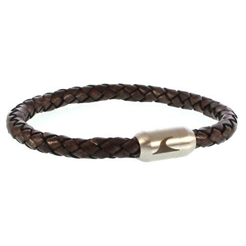 WAVEPIRATE® Echt Leder-Armband Sylt G Braun/Silber 21 cm Edelstahl-Verschluss in Geschenk-Box Männer Damen Herren