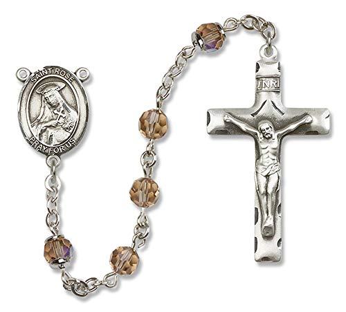 Hail Mary Gifts All Sterling Silver Rosary with Topaz, 6mm Swarovski, Austrian Tin Cut Aurora Borealis Beads. St. Rose of Lima Center. St. Rose of Lima is The Patron Saint of Vanity/South America.