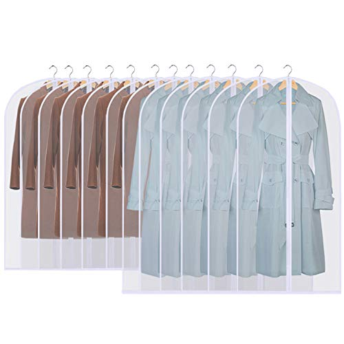 GoMaihe Clothes Cover Bags Set of 12, 60 x 120cm/6pcs + 60 x 100cm/6pcs Dress Garment Bag with Zip in Wardrobes, Moth Resistant Dustproof Waterproof Washable Suit Carrier Protector Bags for Men Women