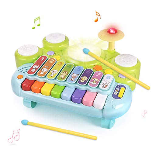 GrowthPic Music Toys Piano Keyboard Xylophone Drum, 3 in 1 Electronic Instrument Learning Baby Toy Xylophone for Kids Musical Table w/ Lights, Boys Girls Toddler 1 2 3 Yr Old Xmas Birthday Gift