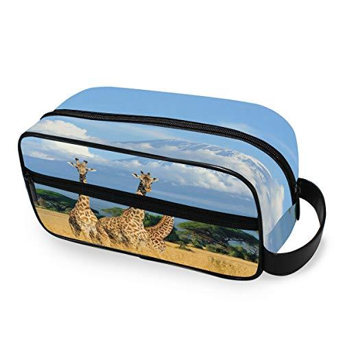 LZXO Bolsa de cosméticos colgante con patrón de jirafa africana para viajes, bolsa de aseo con cremallera, bolsa de maquillaje profesional, portátil, bolsa