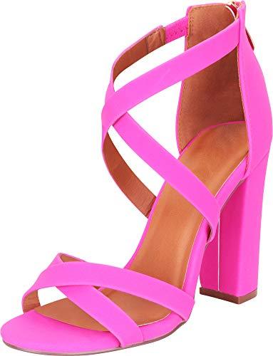 Cambridge Select Women's Crisscross Strappy Chunky Block High Heel Sandal,6 B(M) US,Hot Pink NBPU