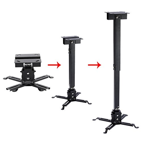 Soporte de techo inclinable y regulable para videoproyector para casa oficina Sal reuniones Alcance de hasta 25 kg, soporte ajustable para proyector 43 – 65 cm, inclinación +/-15º (negro)