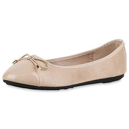 SCARPE VITA Damen Klassische Ballerinas Schleifen Slipper Slip On Schuhe Flats 174439 Creme Lack 37