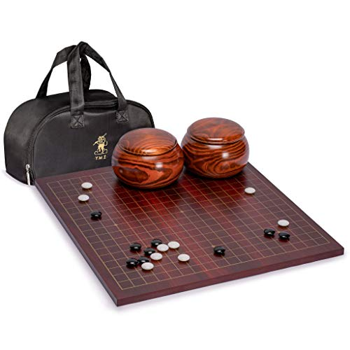 Yellow Mountain Imports Dark Cherry Veneer 0.6-Inch Reversible Go Game Set Board with Double Convex Melamine Stones & Jujube Bowls