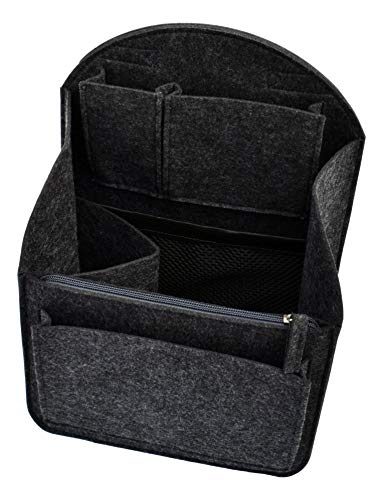 Felt Backpack Organizer Insert - 9 Pocket Storage Liner Travel Bag Purse Tote Shaper with Rounded Top (Small, Charcoal)