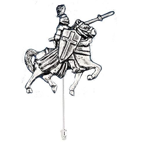 Caballero montado pp-h02 3.4x4.2cm fino inglés peltre adorno en un lazo pin...