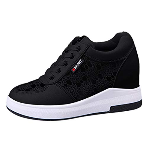 Kiminana Women Sweet Floral Lace Casual Shoes Comfy Increase Within Lace-up Sports Shoes Solid Color Outdoor Sneakers