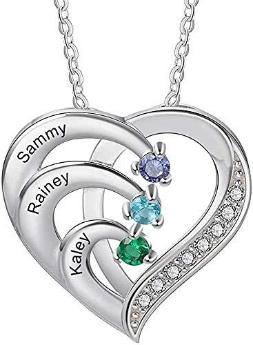 Grancey Namenskette Personalisiert Herz Anhänger Halskette 3 Kinder Name Kette mit Gravur Wunschnamen Geburtsstein Familienkette für Mütter Oma Familie Damen Mädchen 925 Sterling Silber Roségold