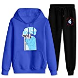M-a-c Mi-ll-er Most Dope Hoodie Suit Outfit Sets SweatSuit Funny Tracksuit for Mens Womens Blue and black Women-M/Men-S