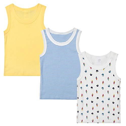 Minizone Minizone Kinder Tanktop Set 3 Mädchen Jungen T-Shirt ohne Ärmel Baby Hemd aus Baumwolle Tops für Sommer 1-4 Jahre Gr. 18-24 Monate, C