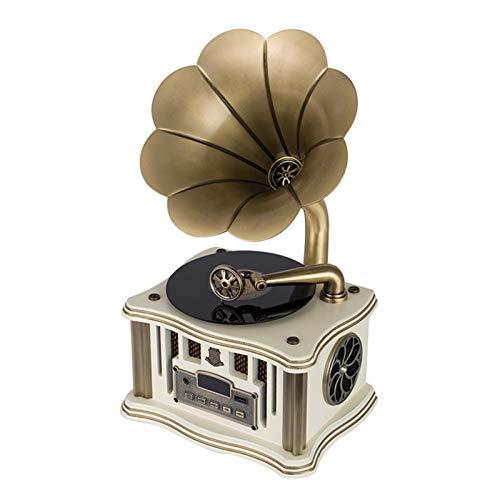 N / C Grammofono Bluetooth Portatile, subwoofer in Stile Vintage retrò, con Ingresso ausiliario, CD, Radio FM/AM, fonografo a Due Altoparlanti, Regali per Decorazioni per la casa