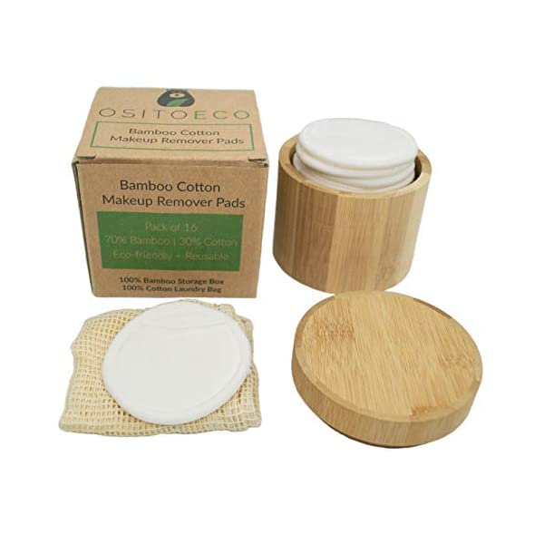 Reusable Bamboo Cotton Makeup Remover Pads (16 Pack) with Bamboo Storage Holder Box and Cotton Laundry Bag