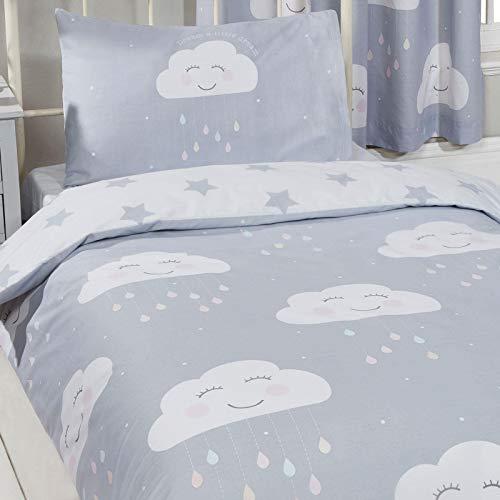 Price Right Home - Happy Clouds - Juego de funda nórdica y funda de almohada, con diseño de nubes, sin relleno, para cama individual