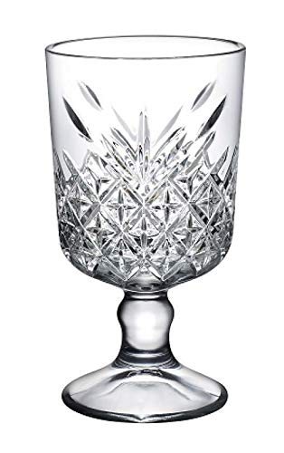Pasabahce Timeless 51648 Lot de 6 verres à pied pour cocktail, vin, dessert Aspect cristal/vintage Hauteur env. 15,1 cm