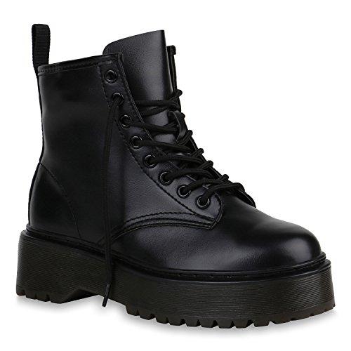 Damen Schuhe Stiefeletten Plateau Boots Profilsohle Trendy 152084 Schwarz Brooklyn 41 Flandell