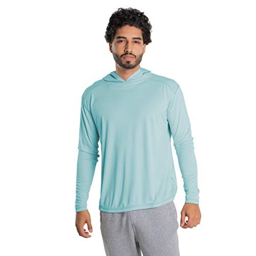 Vapor Apparel Men's UPF 50+ UV Sun Protection Long Sleeve Performance Hoodie for Sports and Outdoor Lifestyle, Medium, Arctic Blue